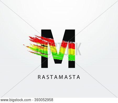 M Letter Logo With Splatter And Rasta Color. Letter M Reggae.