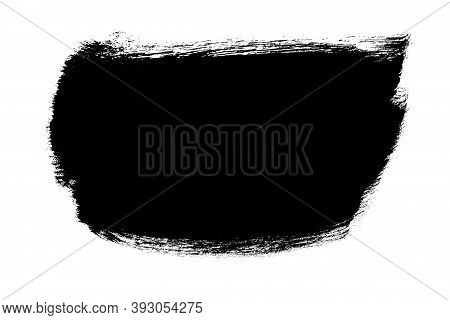 Black Abstract Aquarel Watercolor Stain Background Isolated On White. Smear Brush Black Mask