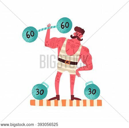 Portrait Of Strongman Lifting Dumbbell. Circus Tattooed Weightlifter Performing Stunt. Powerlifting