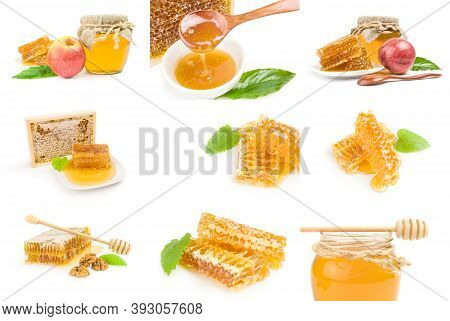 Collage Of Sweet Honey Isolated On A White Background Cutout