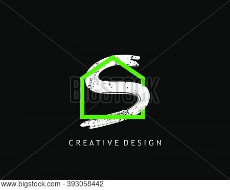 House S Letter Logo. Green House Shape Interlock With Grungy Letter S Design, Real Estate Architectu