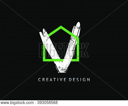 V Letter Logo. Green House Shape Interlock With Grungy Letter V Design, Real Estate Architecture Con
