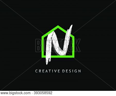 House N Letter Logo. Green House Shape Interlock With Grungy Letter N Design, Real Estate Architectu