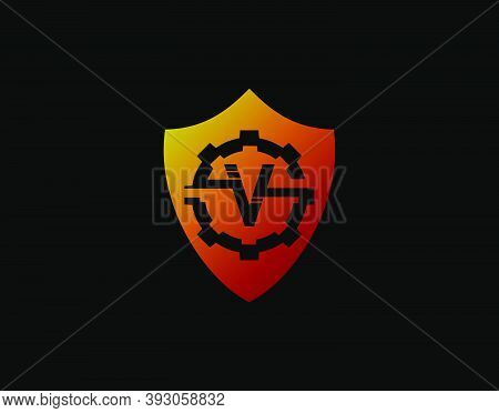 Abstract V Letter Logo With Gear Shape And Modern Shield Design. Security Icon Design Template.