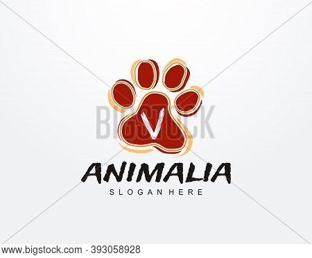 V Letter In Paw Shape Design. Pet Logo Design. Dog, Cat, Animal Clinic, Pet Care Center. Paw Vector