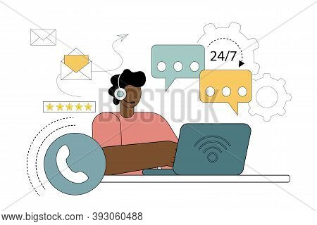 Vector Illustration In A Flat Style. Call Center Operator With Headset. The Concept Of Support, Assi