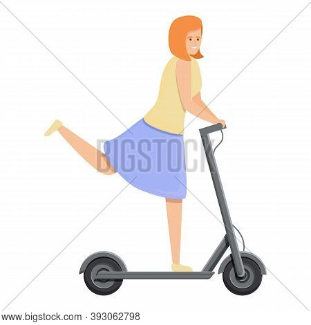 Girl In Skirt Electric Scooter Icon. Cartoon Of Girl In Skirt Electric Scooter Vector Icon For Web D