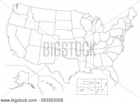Outline United States Of America Map. Us Background Template. Map Of America With Separated Countrie