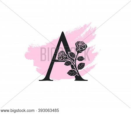 Beauty Rose Logo Vector Logo Design Template, Feminine A Sign Line Petal Beauty Salon. Flower A Lett