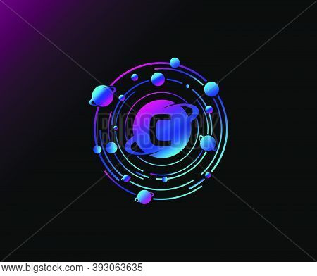 Orbit C Letter Design. Modern Planet With Line Of Orbit. Colorful Abstract Circle Geometry Planet Lo