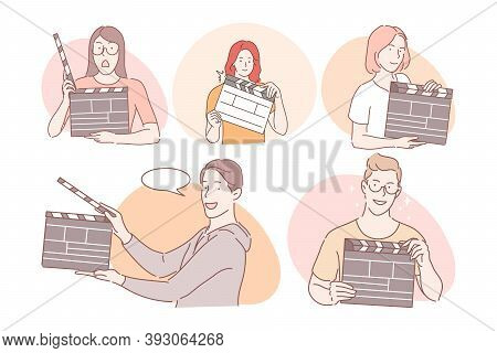 Filmmaking Workers With Clapperboard Concept. Young Positive Men And Women Working In Cinema Product