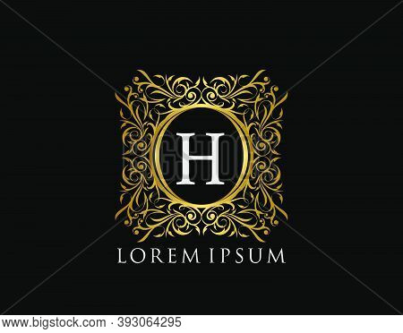 Luxury Badge Letter H Logo. Luxury Gold Calligraphic Vintage Emblem With Beautiful Classy Floral Orn