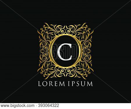 Luxury Badge Letter C Logo. Luxury Gold Calligraphic Vintage Emblem With Beautiful Classy Floral Orn