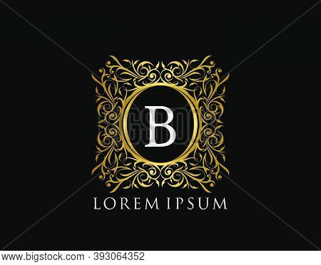 Luxury Badge Letter B Logo. Luxury Gold Calligraphic Vintage Emblem With Beautiful Classy Floral Orn