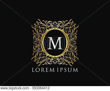 Luxury Badge Letter M Logo. Luxury Gold Calligraphic Vintage Emblem With Beautiful Classy Floral Orn