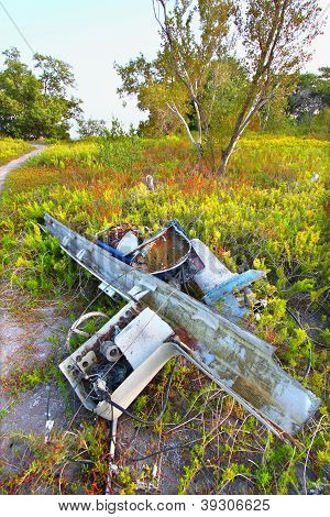 Wrecked Boat In The Everglades
