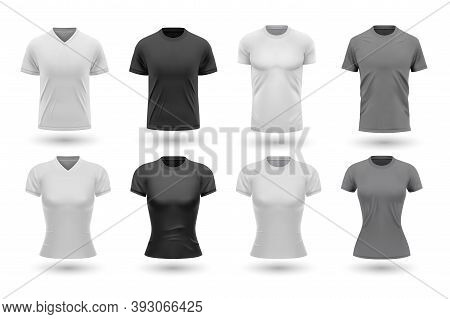 Realistic Male Shirt Mockups Set. Collection Of Realism Style Drawn Tshirt Templates Front Design Is
