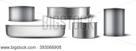 Realistic Aluminium Cans Set. Collectionof Realism Style Drawn Metal Containers Mockups For Drinks O