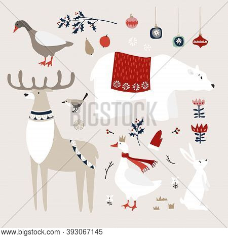 Set Of Cute Christmas Animals, Birds And Decoratione Icons. Polar Bear, Deer And Goose Birds With Wh