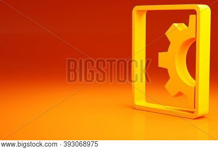 Yellow Software, Web Development, Programming Concept Icon Isolated On Orange Background. Programmin