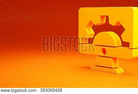 Yellow Software, Web Development, Programming Concept Icon Isolated On Orange Background. Programmin