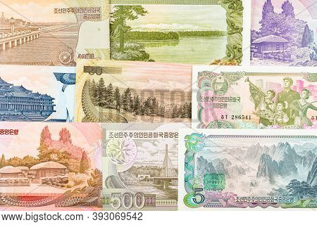 North Korea Won Banknotes Background. High Resolution Vintage Photo Of North Korean Bill 4, Dprk Mon