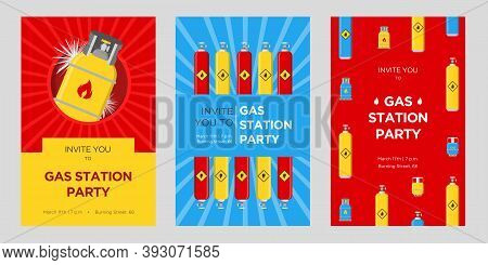 Gas Station Party Invitation Cards Set. Cylinders And Balloons With Flammable Sign Vector Illustrati