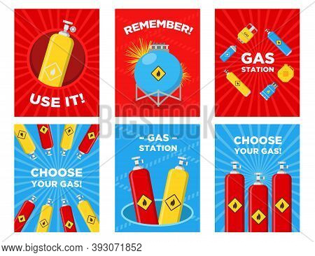 Gas Station Greeting Cards Set. Cylinders, Tanks, Canisters With Flammable Sign Vector Illustrations