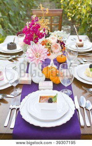 Elegant Autumn dinner place setting