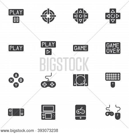 Game Control Vector Icons Set, Modern Solid Symbol Collection, Filled Style Pictogram Pack. Signs, L