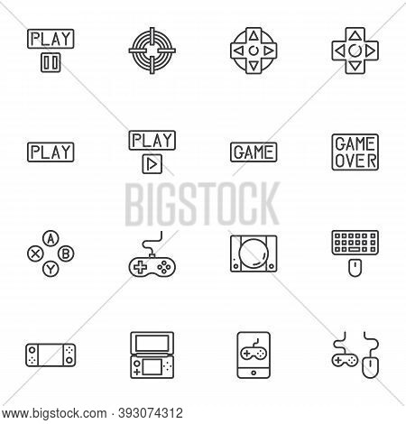 Game Control Line Icons Set, Outline Vector Symbol Collection, Linear Style Pictogram Pack. Signs, L