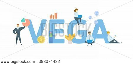 Vega. Concept With Keyword, People And Icons. Flat Vector Illustration. Isolated On White.