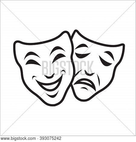 Comedy And Tragedy Theater Masks Vector Template