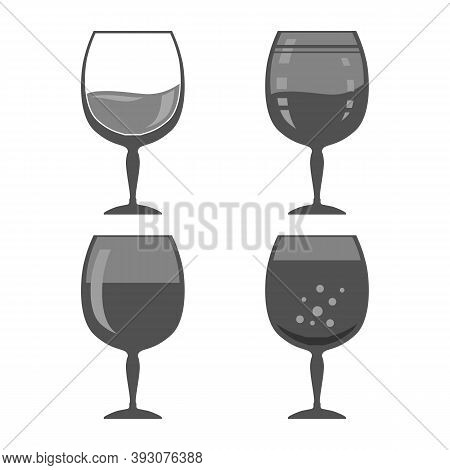 Glass Of Wine Isolated On White Background. Wineglass Symbol. Glassware Concept. Liqueur Cup. Wine G