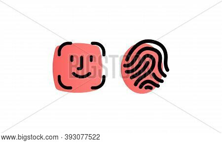 Face Id, Touch Id. Scanners Icons Set, Vector. Security, Id Scanners.