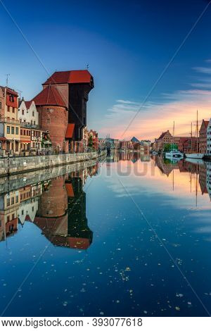 Port Crane of Gdansk over Motlawa river at sunrise, Poland.