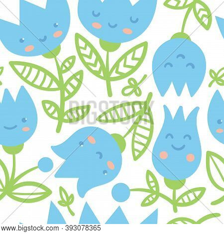 Seamless Pattern With Harebells On White Background. Floral Print With Blubells. Anthropomorphic Vec