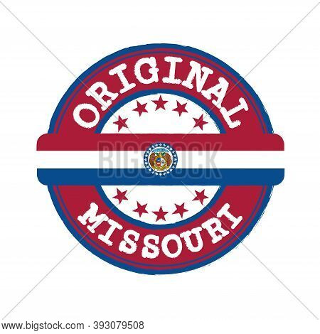 Vector Stamp Of Original Logo And Tying In The Middle With Missouri Flag, The States Of America. Gru