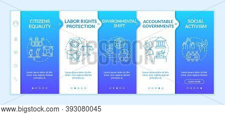 Social Change Advantages Onboarding Vector Template. Citizens Equality. Accountable Governments. Act