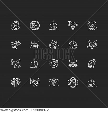 Stomach Pain Chalk White Icons Set On Black Background. Digestive Disorders. Indigestion. Chronic Ab
