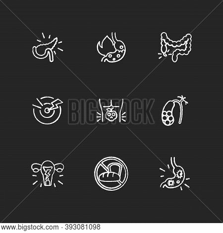 Pain In Belly Chalk White Icons Set On Black Background. Pancreatitis. Burning Sensation In Belly. A
