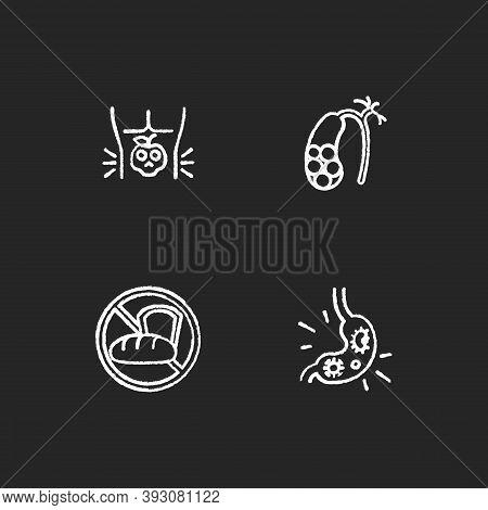 Discomfort In Abdomen Chalk White Icons Set On Black Background. Food Poisoning. Gallstones. Gluten