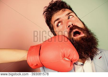 Oh No. Woman Boxing Glove Beat Man. Problems In Relationship. Sport. Bearded Man Hipster Defeated By