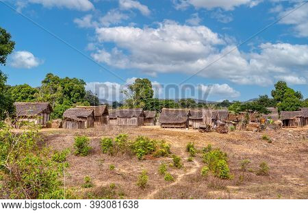 Traditional Wooden African Malagasy Hut With Roof From Straw, Typical Village In North West Madagasc