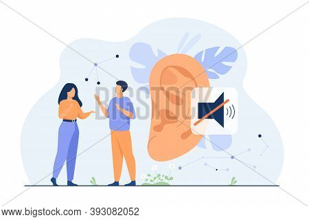 Couple Of Deaf People Talking With Hand Gestures, Huge Ear And Mute Sign In Background. Vector Illus