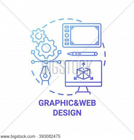 Graphic And Web Design Concept Icon. Top Careers In It For Creative Thinkers. Creation Of Unique Vec