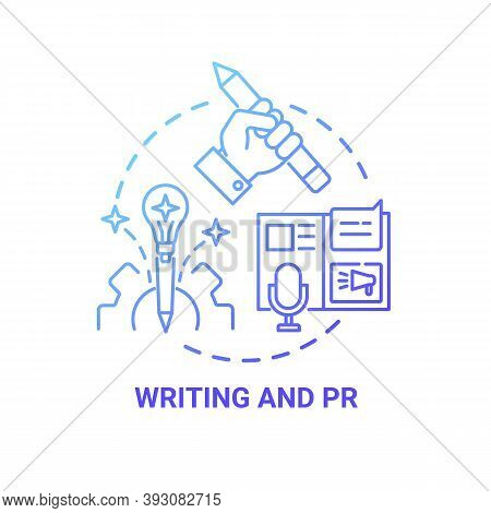 Writing And Pr Concept Icon. Top Careers For Creative Thinkers. Reach Your Target Clients With Adss.