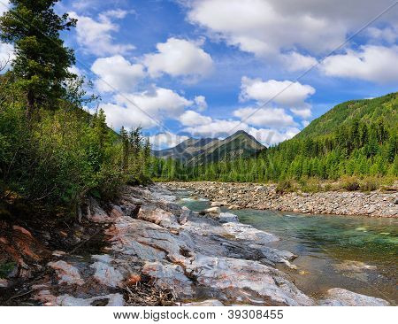 Sky With Clouds Over The Mountain River