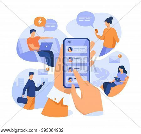 Mobile Phone User Sharing News Online, Sending Messages To Friends, Holding Cellphone With Contact L