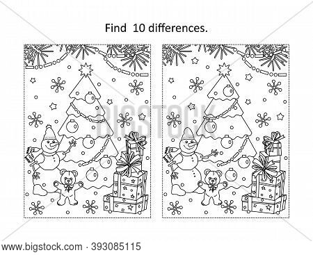 Winter Holidays, New Year Or Christmas Themed Find The Ten Differences Picture Puzzle And Coloring P
